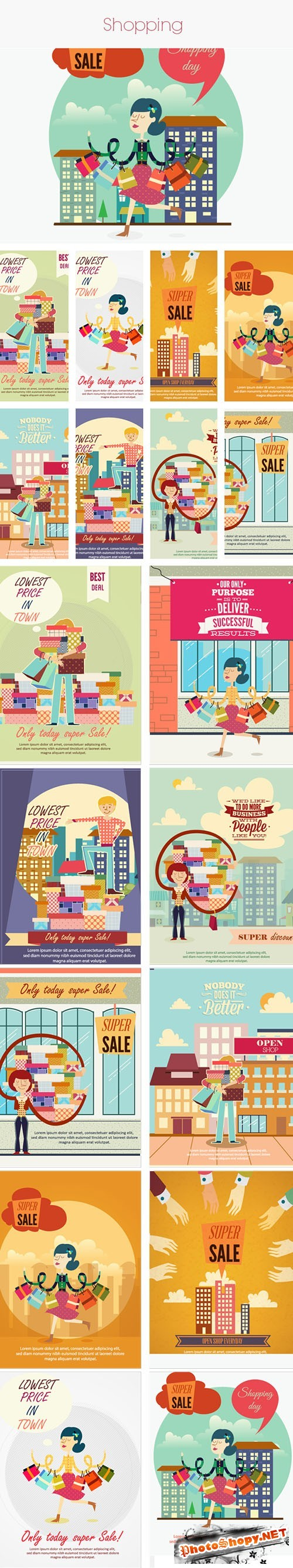 Shopping Vector Stock Illustrations Bundle