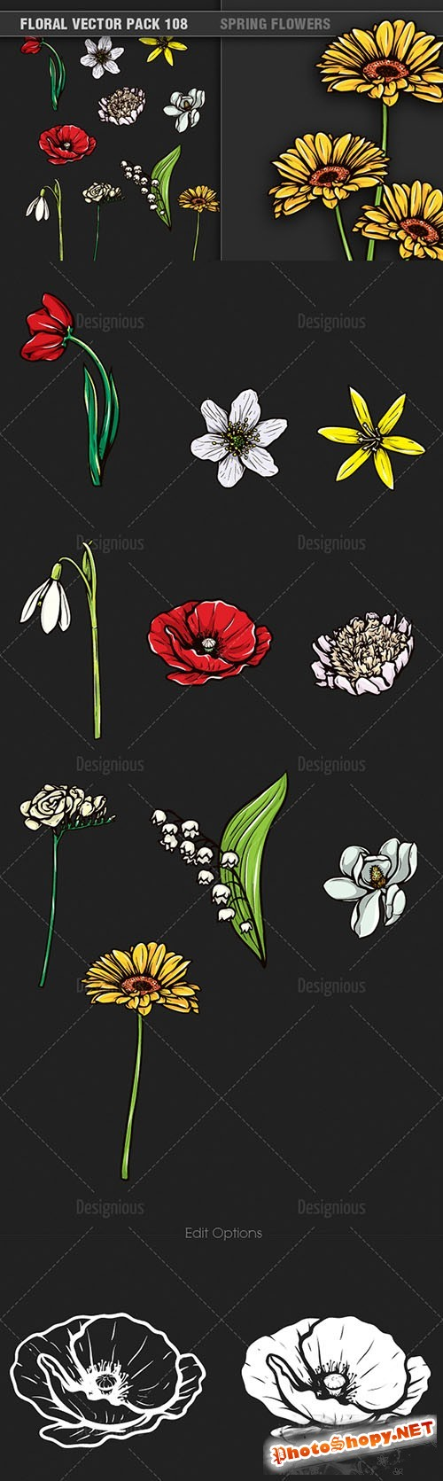 Spring Flowers Vector Illustrations Pack 108
