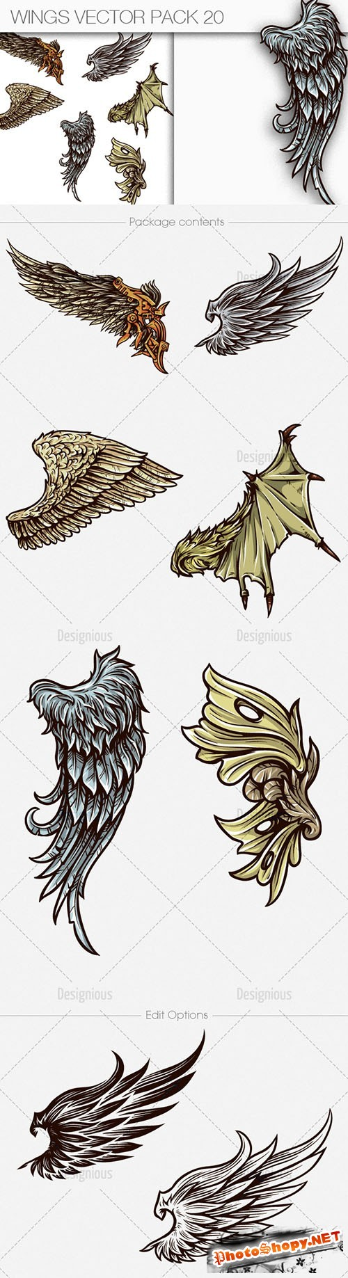 Wings Vector Illustrations Pack 20