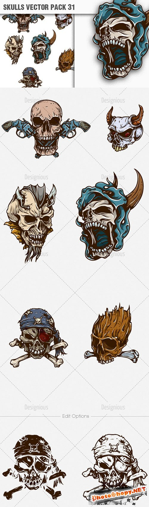 Skulls Vector Illustrations Pack 31