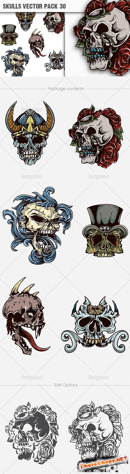 Skulls Vector Illustrations Pack 30