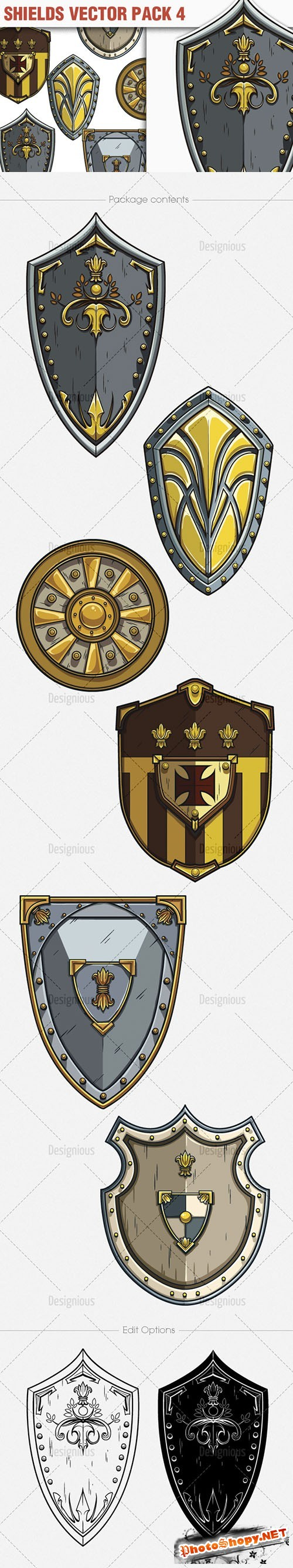 Shields Vector Illustrations Pack 4