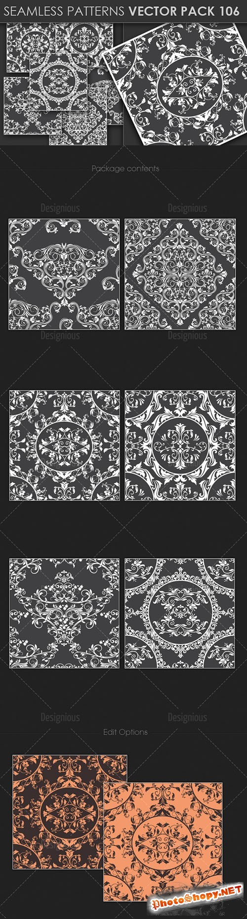 Seamless Patterns Vector Pack 106
