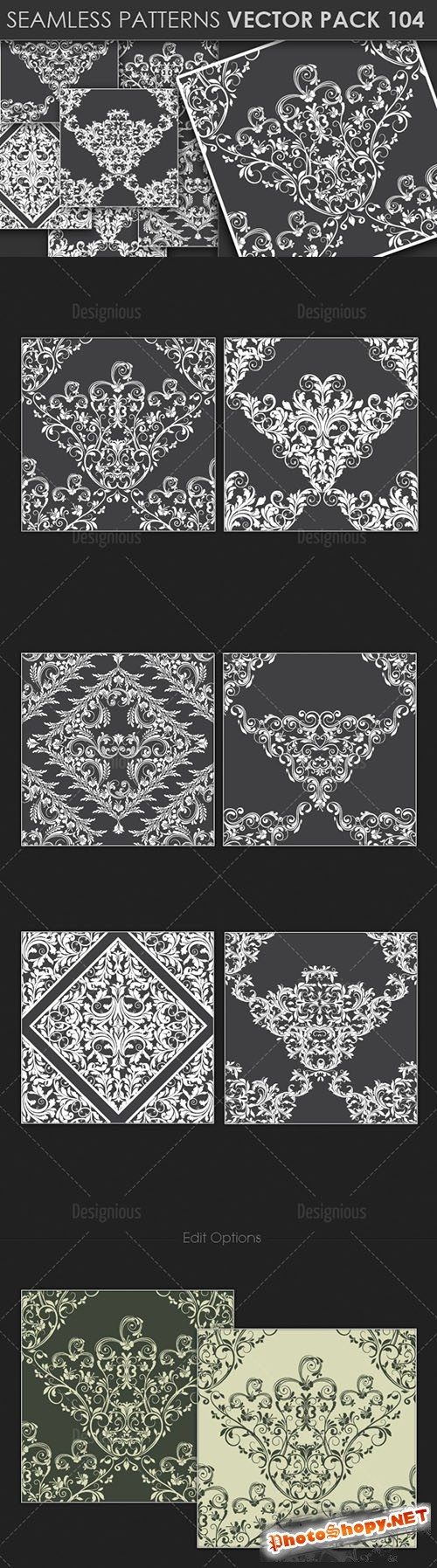 Seamless Patterns Vector Pack 104