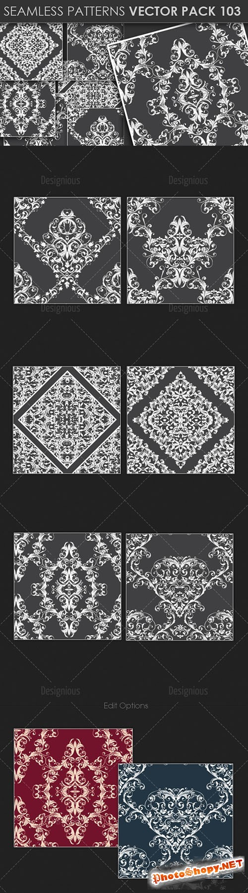 Seamless Patterns Vector Pack 103