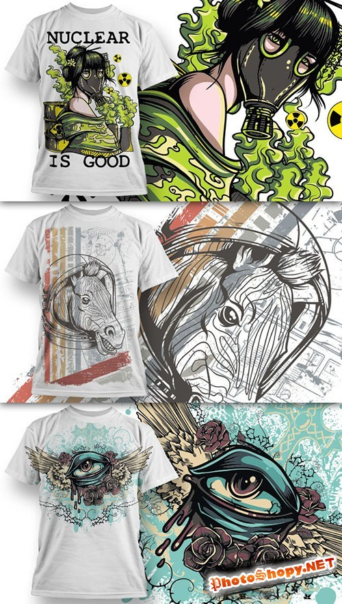T-Shirt Design Vector Illustrations Pack 1