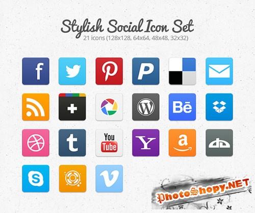 Stylish Social Icon Set