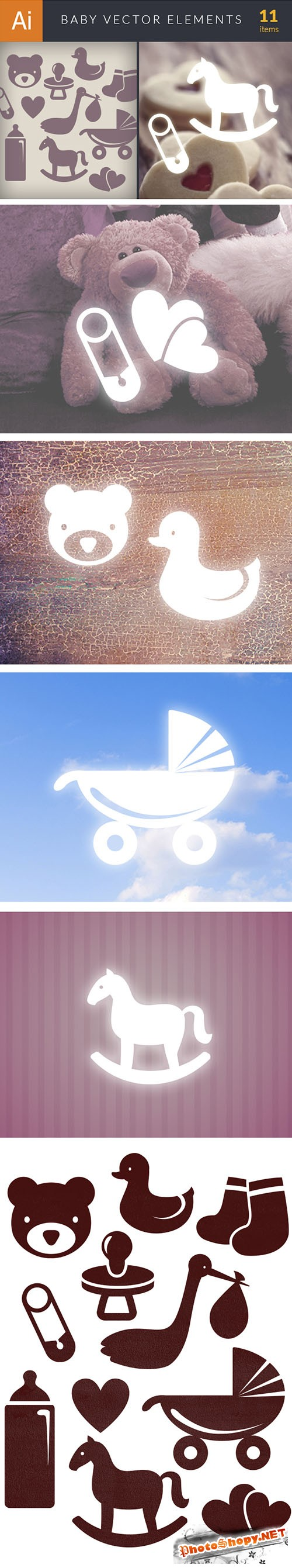 Simple Baby Elements Vector Illustrations Pack 1
