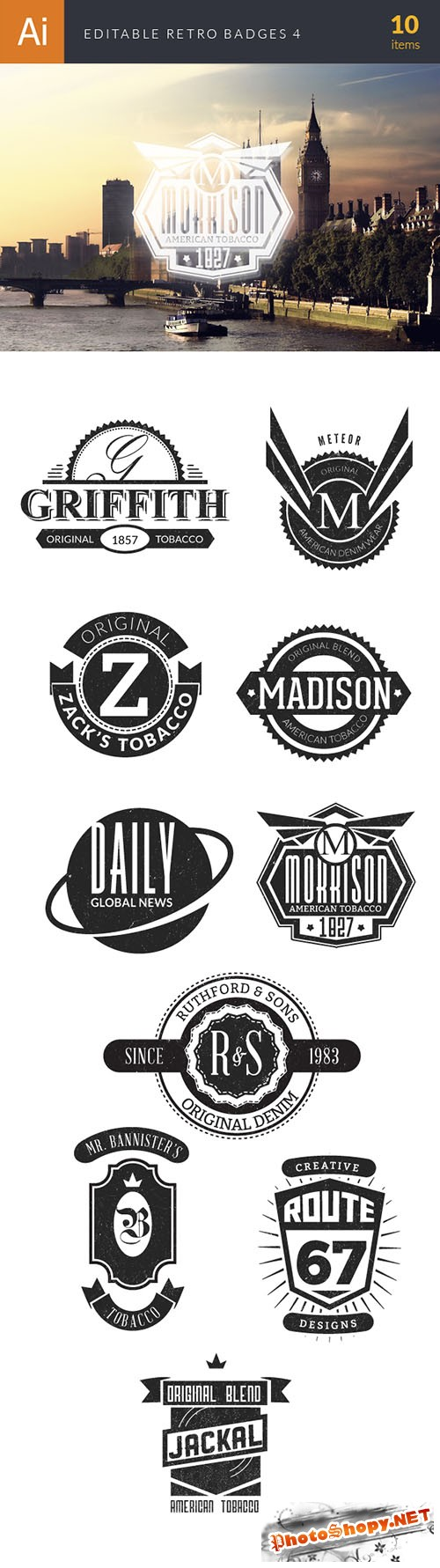 Editable Retro Badges Vector Illustrations Pack 4