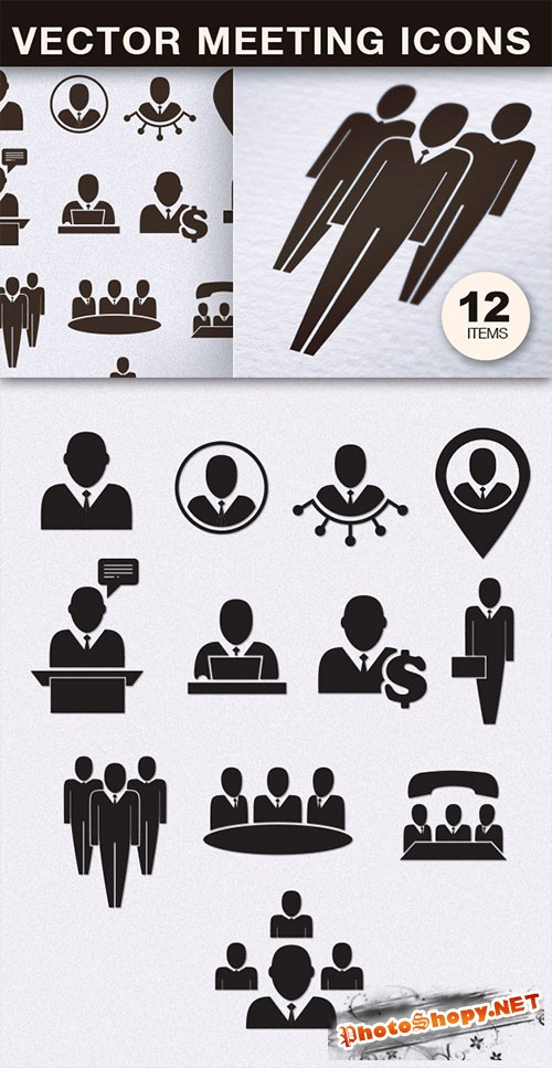 Flat Meeting Icons Vector Elements Pack 1