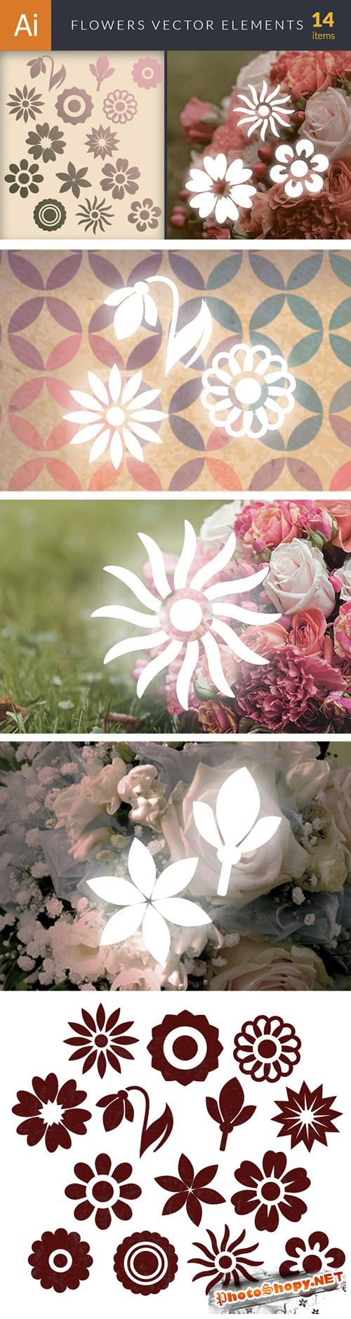Simple Flowers Vector Elements Set 1
