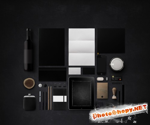 Black Branding Mock up Template PSD