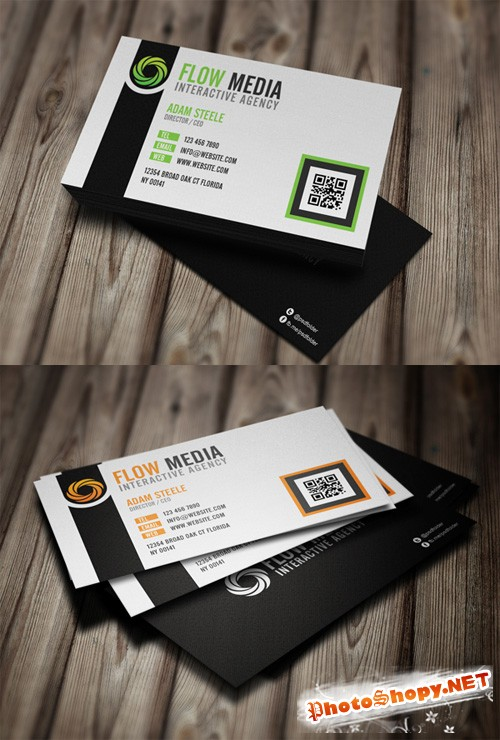 Flow Media Business Cards PSD