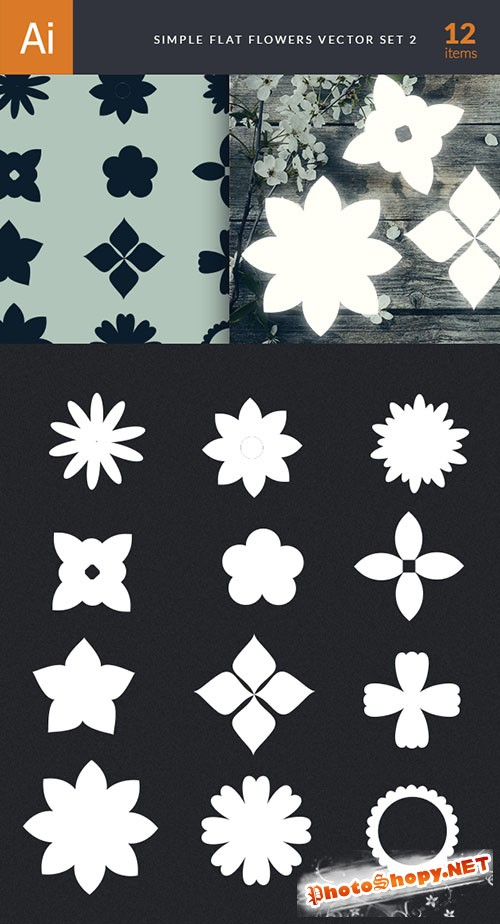 Simple Flat Flowers Vector Elements Set 2
