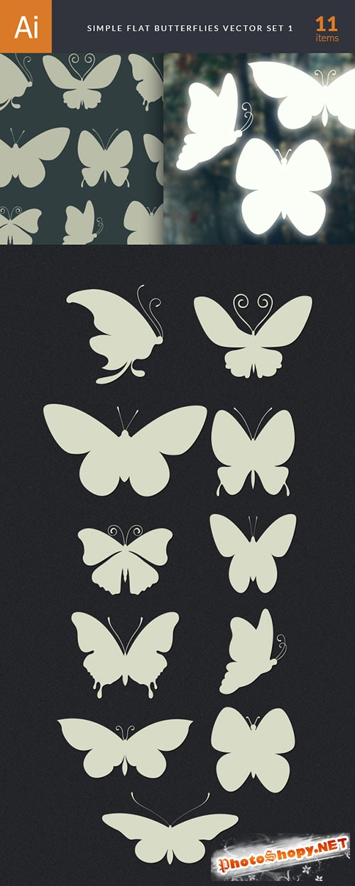 Simple Flat Butterlfy Vector Elements Set 1