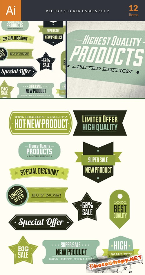 Sticker Labels Vector Elements Set 2