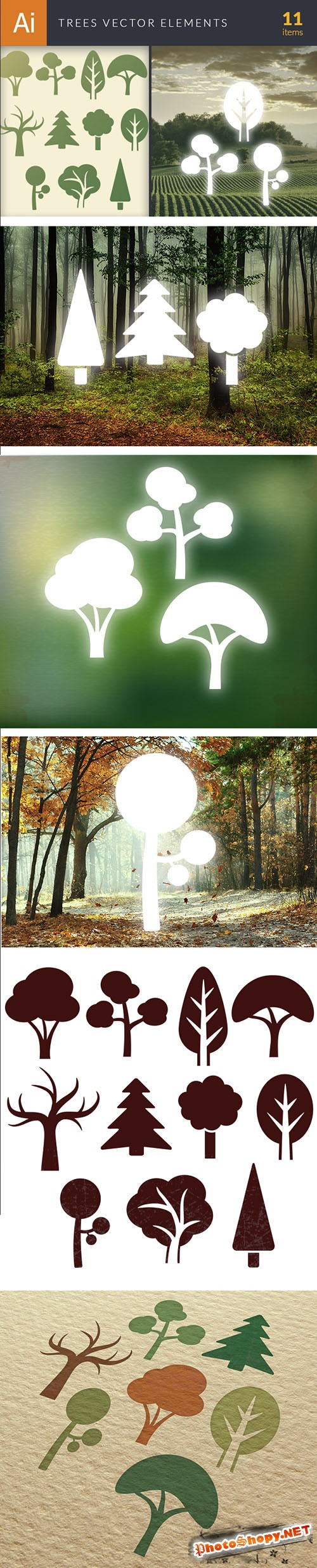 Simple Trees Vector Elements Set 2