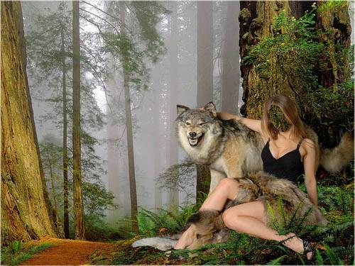 Шаблон женский - В обнимку с волком