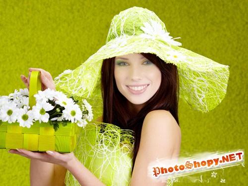 Шаблон для Photoshop - Девушка с корзиной цветочков