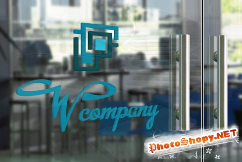 Glass Door Logo Mock-up Template PSD