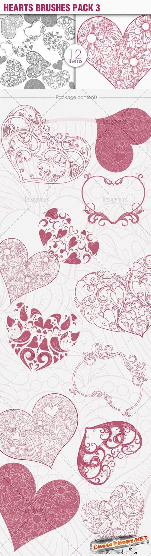 Hearts Photoshop Brushes Pack 3