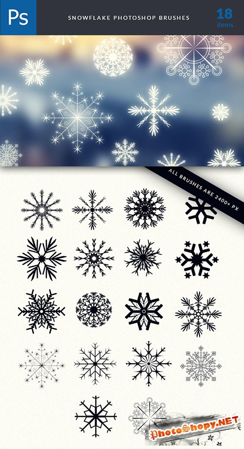 Snowflakes Photoshop Brushes Pack 2