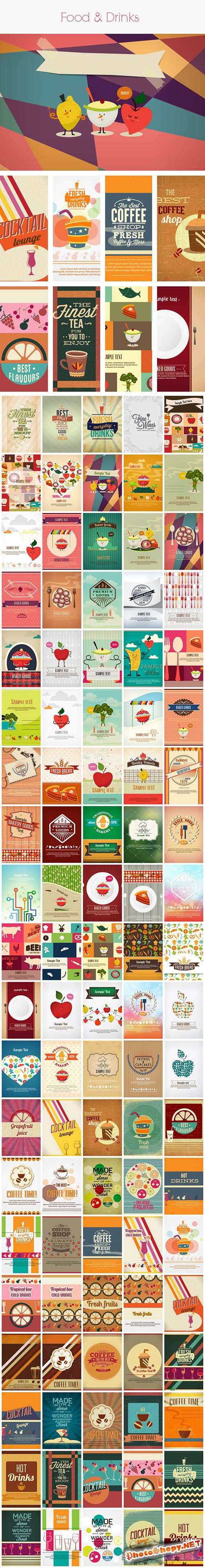 100 Food & Drinks Vector Illustrations Bundle