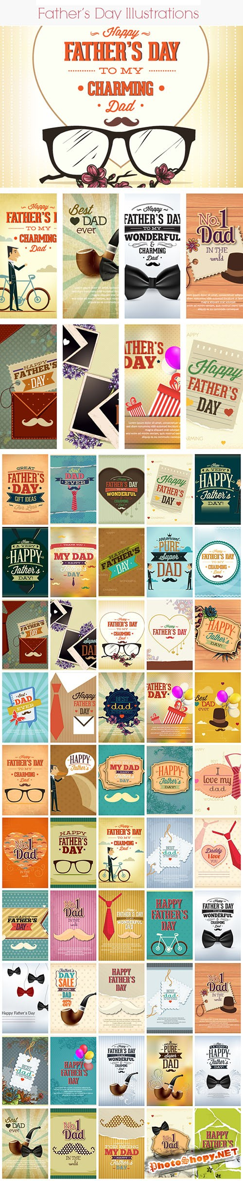 50 Father's Day Vector Illustrations Bundle