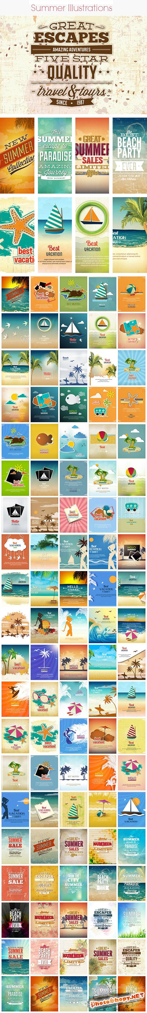 100 Summer Vector Illustrations Bundle