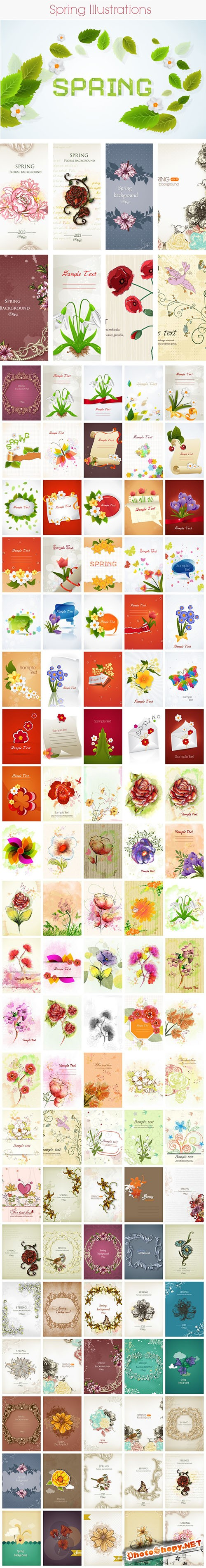 150 Spring Vector Illustrations Bundle