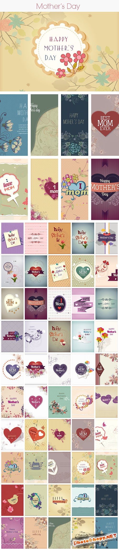 50 Mother's Day Vector Illustrations Bundle