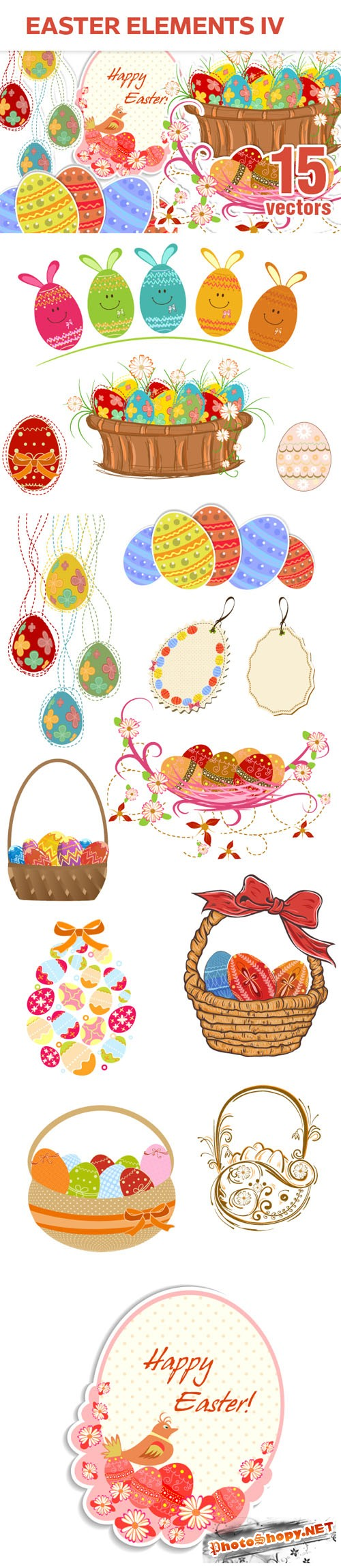 Designtnt - Easter Elements Vector Set 4