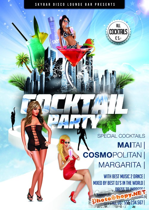 Coctail Party Flyer Template 3 PSD