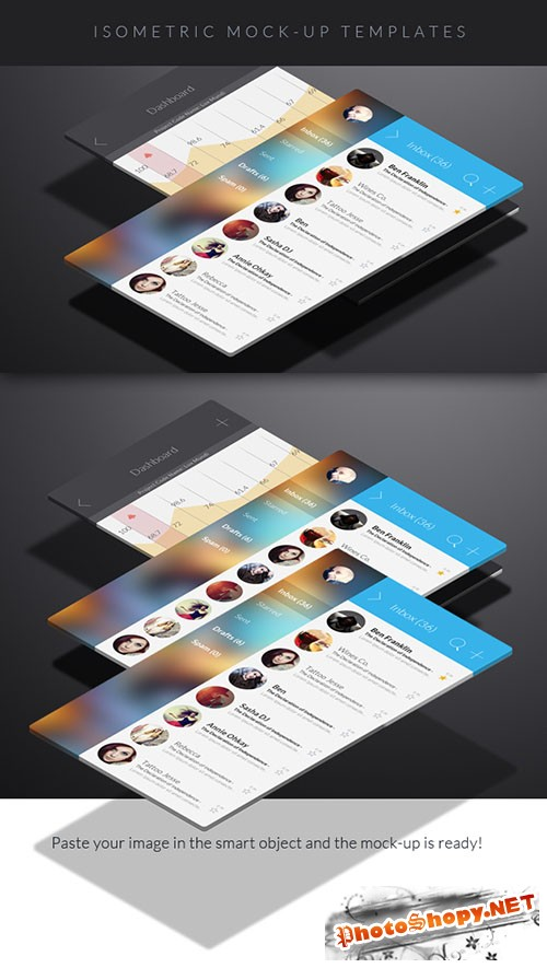 Isometric Mock-Up PSD Template Set 1
