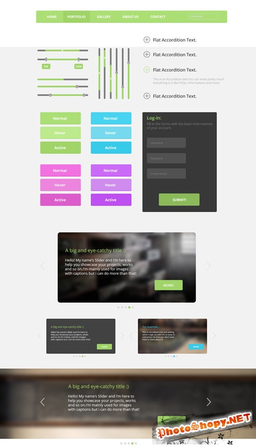 Flat User Interface PSD Template