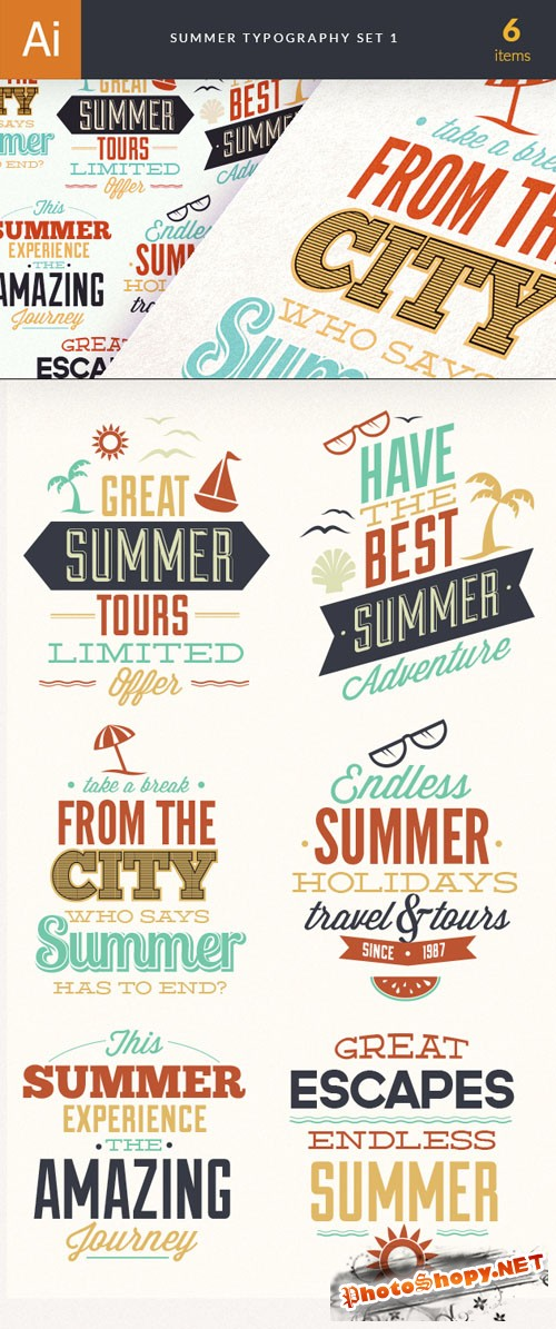Summer Typography Vector Elements Set 1