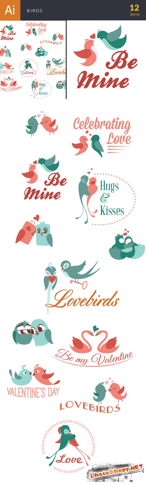 Birds Celebrating Love Vector Elements Set
