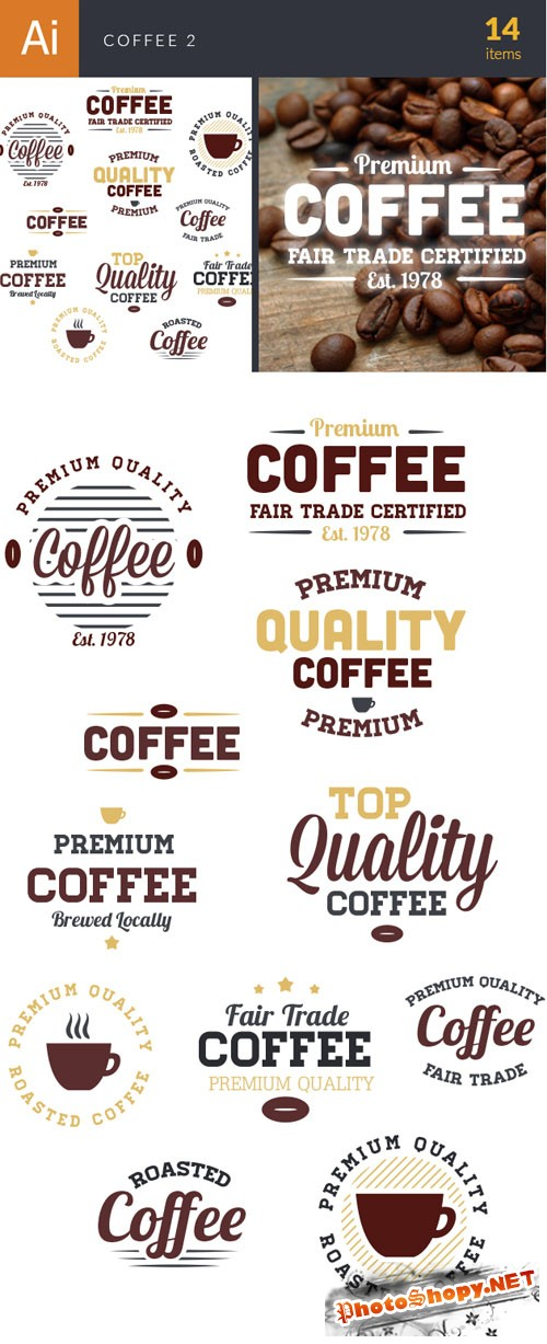 Coffee Typographic Vector Elements Set 2