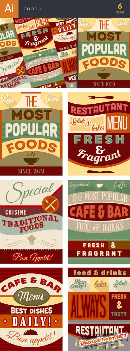 Food Typographic Vector Illustrations Pack 4