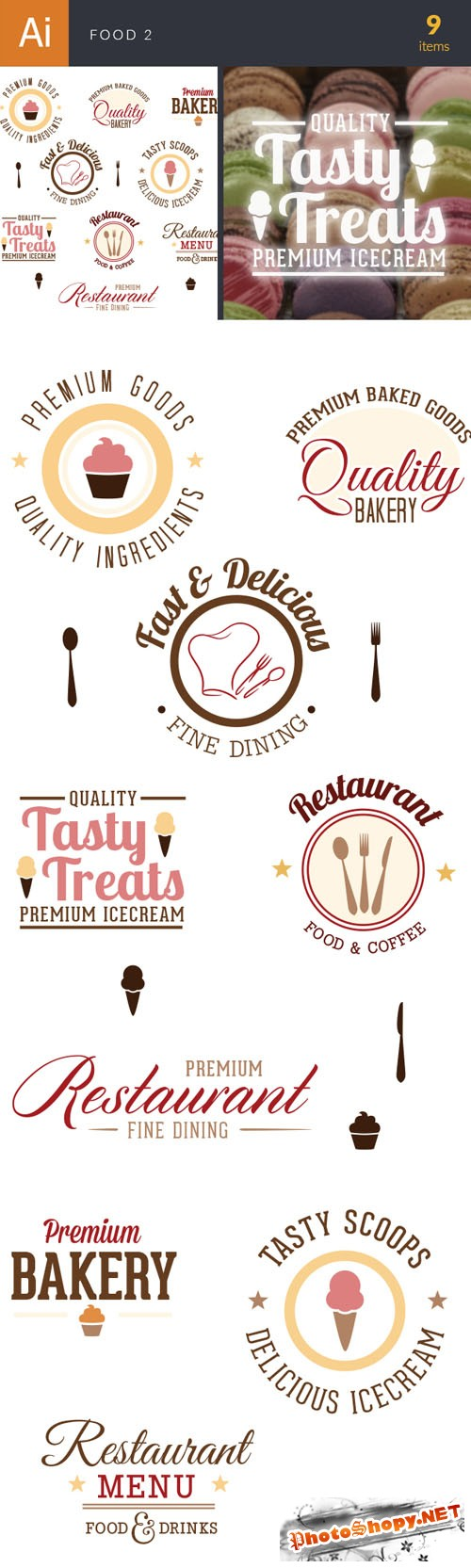 Food Typographic Vector Illustrations Pack 2