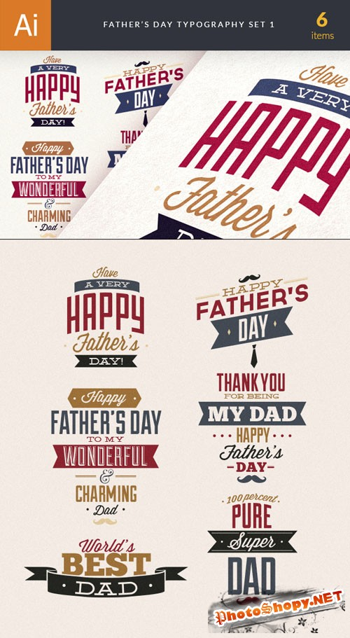 Father's Day Typography Vector Illustrations Pack 1