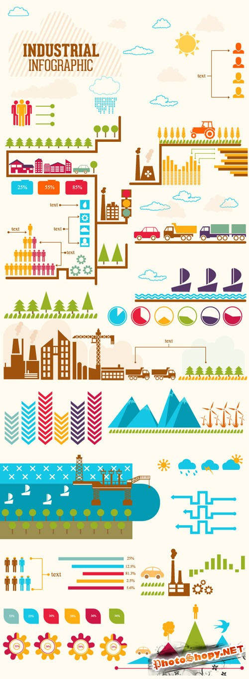 Industrial Infographic Vector Illustrations