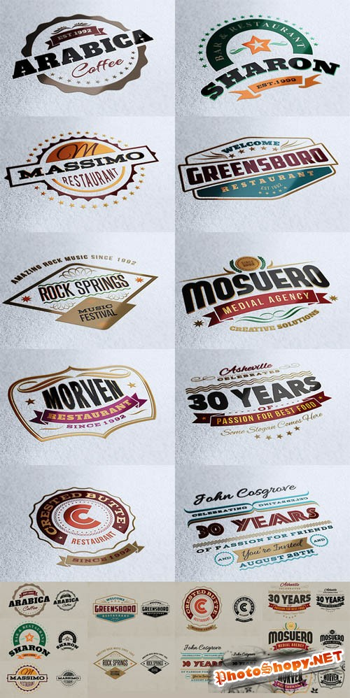 10 Retro Signs or Banners PSD