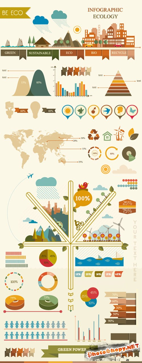 Infographic Ecology Vector Illustrations