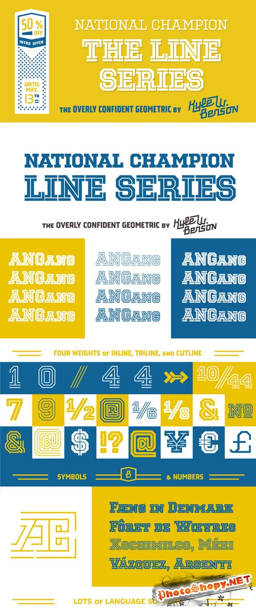 National Champion Line Series - 12 Fonts for $27