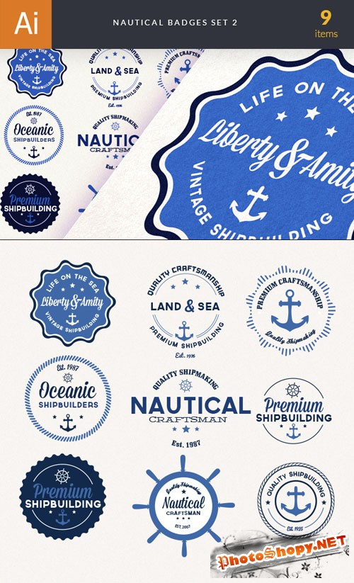Nautical Badges Vector Elements Set 2
