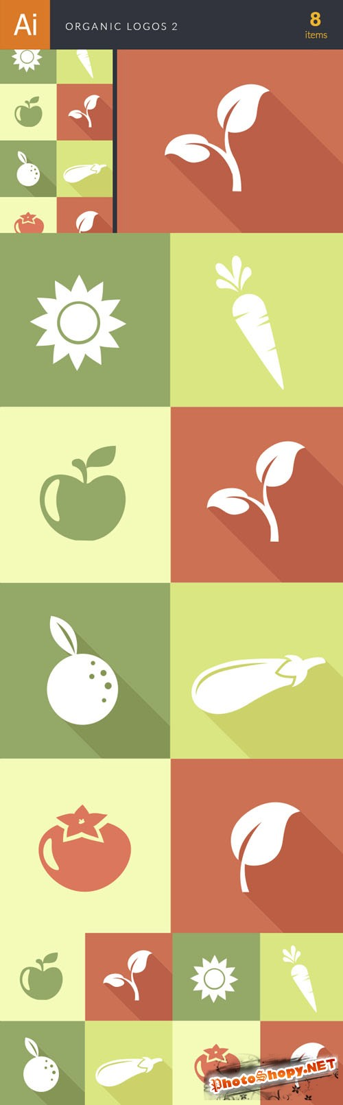 Organic Logos Vector Illustrations Pack 2