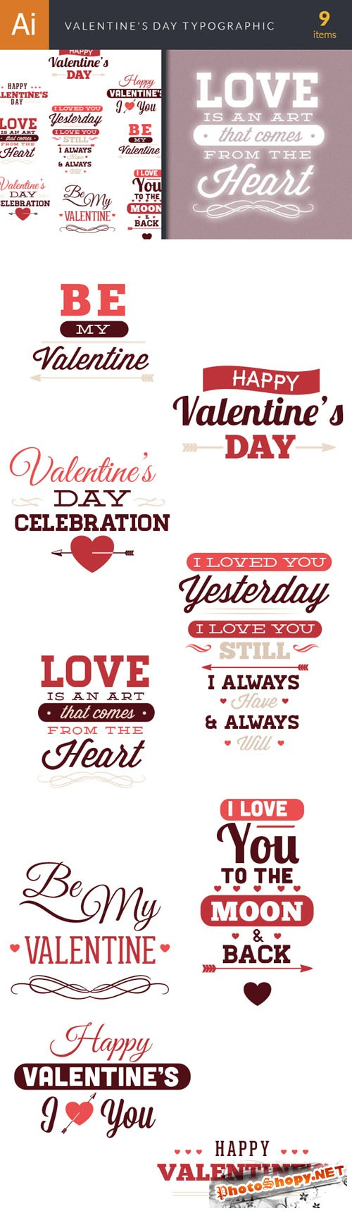 Valentine's Day Typographic Vector Elements Set 1