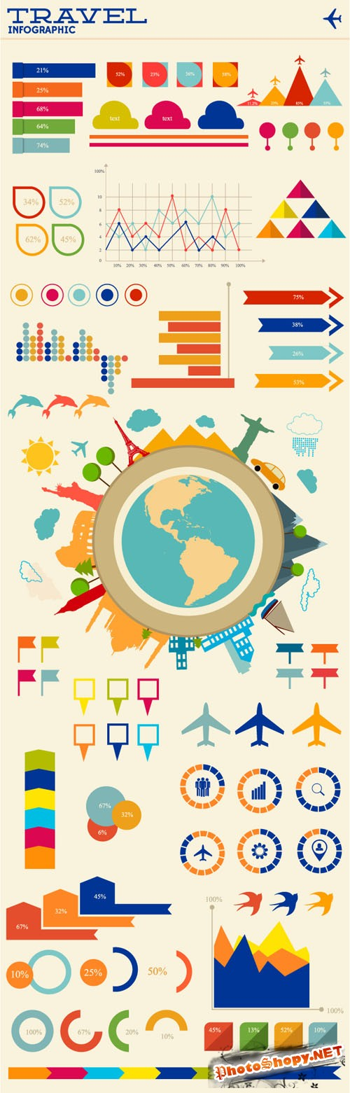 Travel Infographic Vector Illustrations