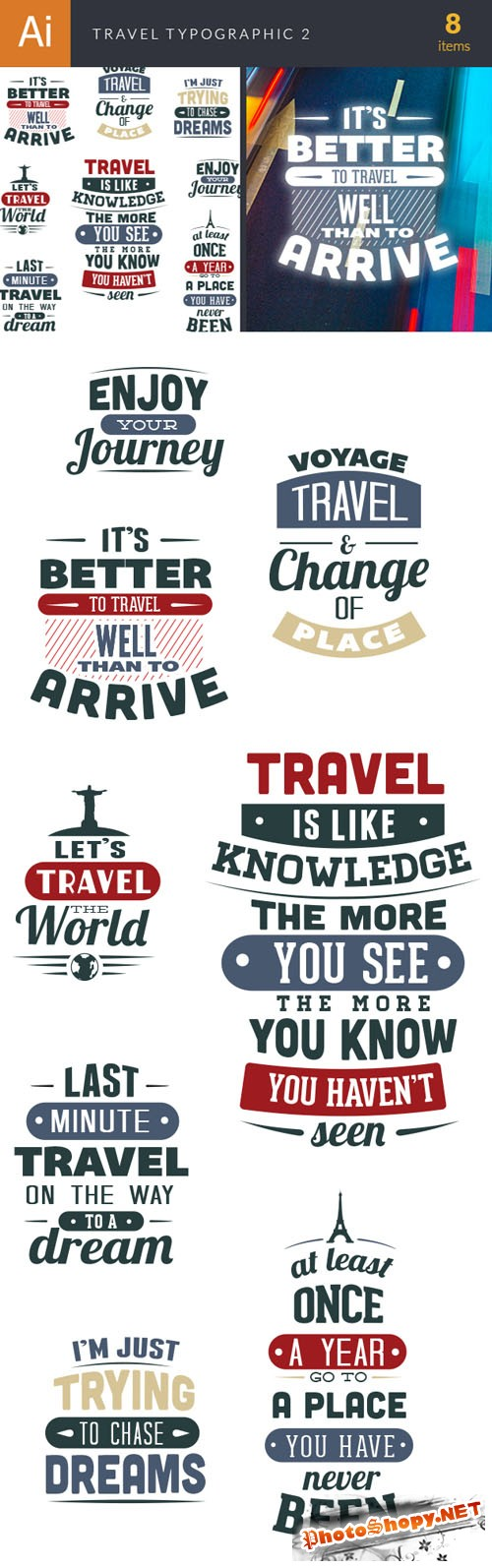 Travel Typographic Vector Elements Set 2